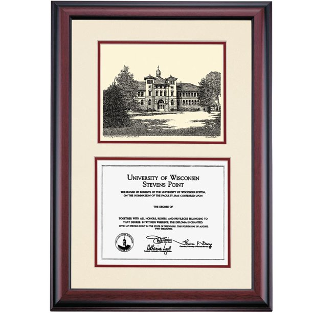 Ocm Diploma Frame University Of Wisconsin Stevens Point Pointer Displays Diploma Certificate 8 X 10 Marroon Mat Walmart Com Walmart Com