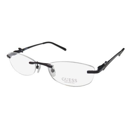 New Guess 2276 Womens/Ladies Designer Rimless Black Brand Name Stylish Drill Mount Hot Frame Demo Lenses 53-17-135 Flexible Hinges Eyeglasses/Eyeglass (Drill Mount Eyeglasses)