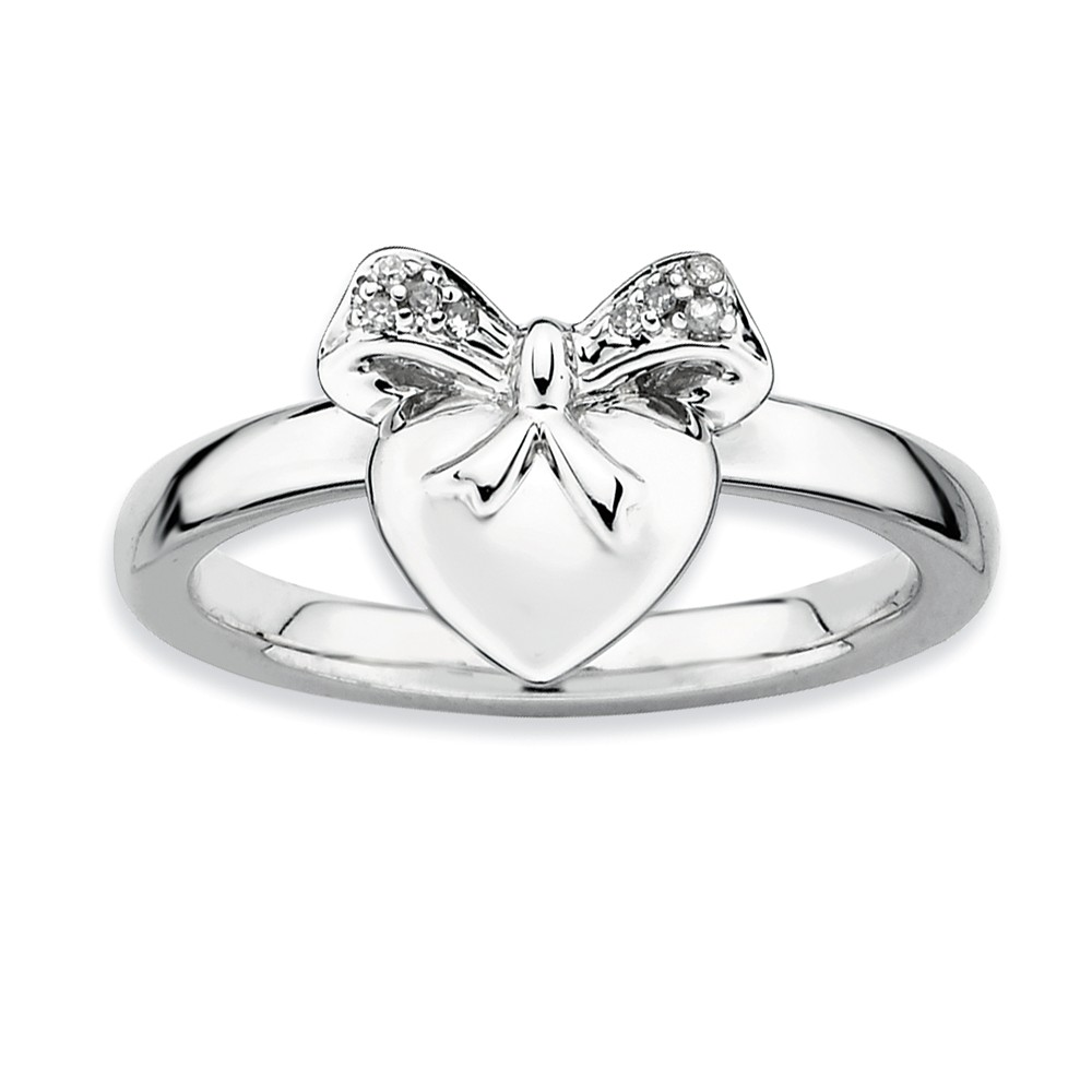 Sterling Silver Stackable Expressions Heart with Bow Diamond Ring