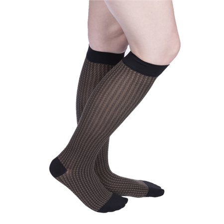 AccuCare Canada - Women's 15-20 mmHg Sheer Designs Compression Socks Houndstooth by VenaCouture - image 2 de 2