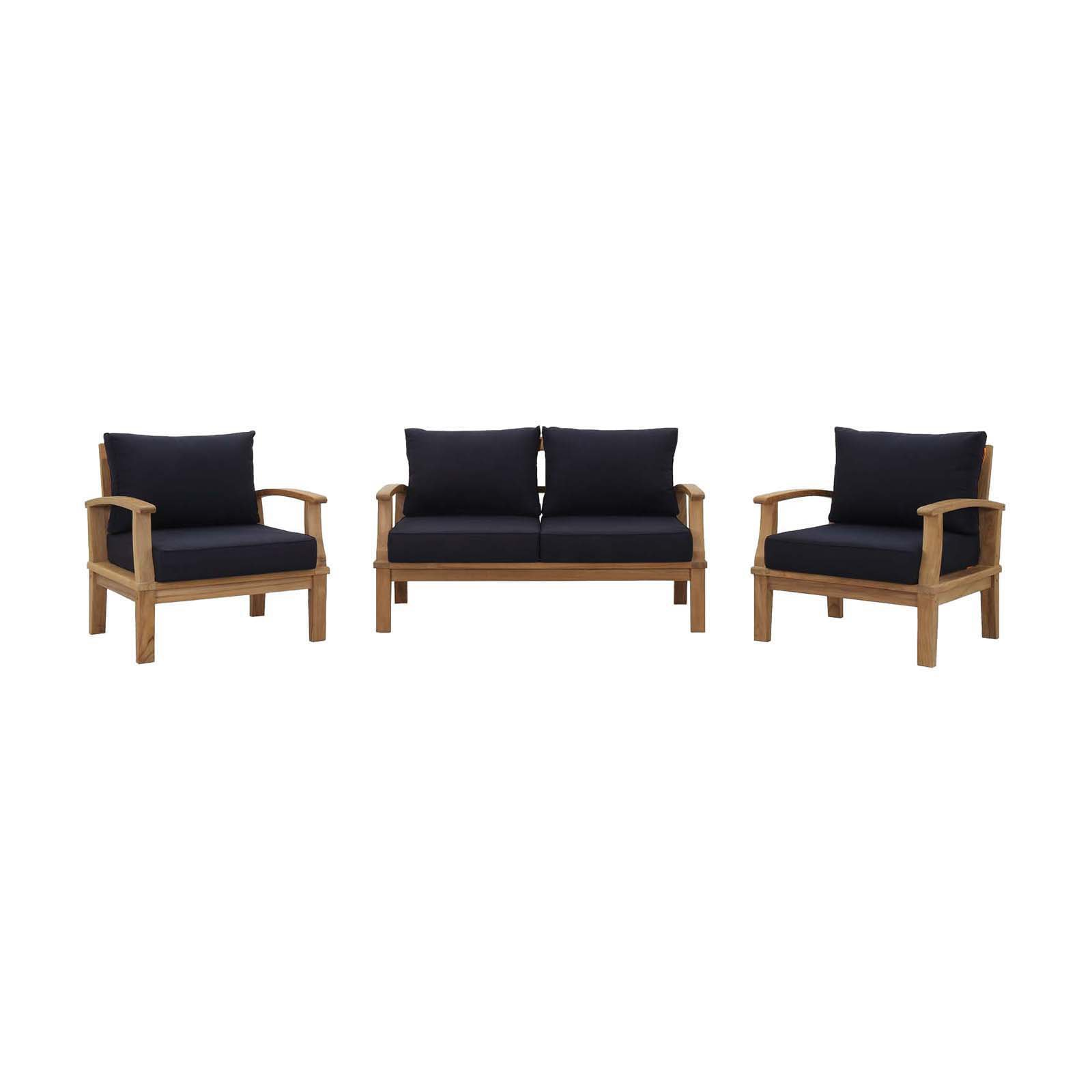 Modway Marina 3 Piece Outdoor Patio Teak Sofa Set in Natural White