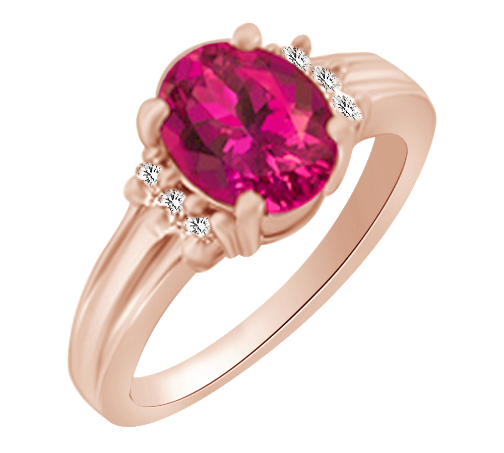 (1.62ct) Simulated Pink Ruby & White Diamond Engagement Ring 14k Solid Gold With Ring Size 4 by Jewel Zone US
