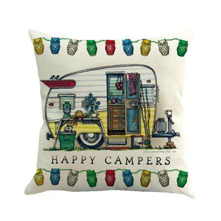 Home Decor Ornate HAPPY CAMPERS Sofa Waist Throw Cushion Cover Pillow Case](Hippy Home Decor)