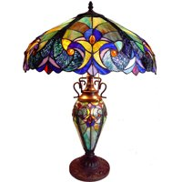 "Chloe Lighting Liaison Tiffany-Style 3-Light Victorian Double Lit Table Lamp with 18"" Shade"