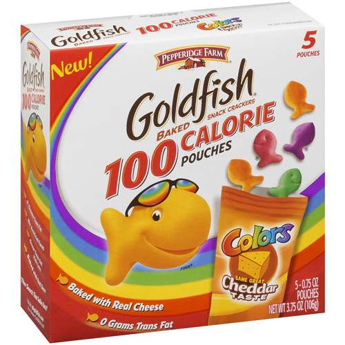 Pepperidge Farm Goldfish Colors 100 Calorie Pouches Backed Cheddar Snack Crackers, 0.75 Oz., 5 Count