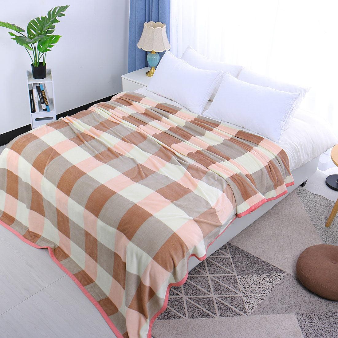 Plaid Soft Plush Fleece Throw Blanket Flannel Queen Size Bed Blankets 78 X90 Walmart Com Walmart Com