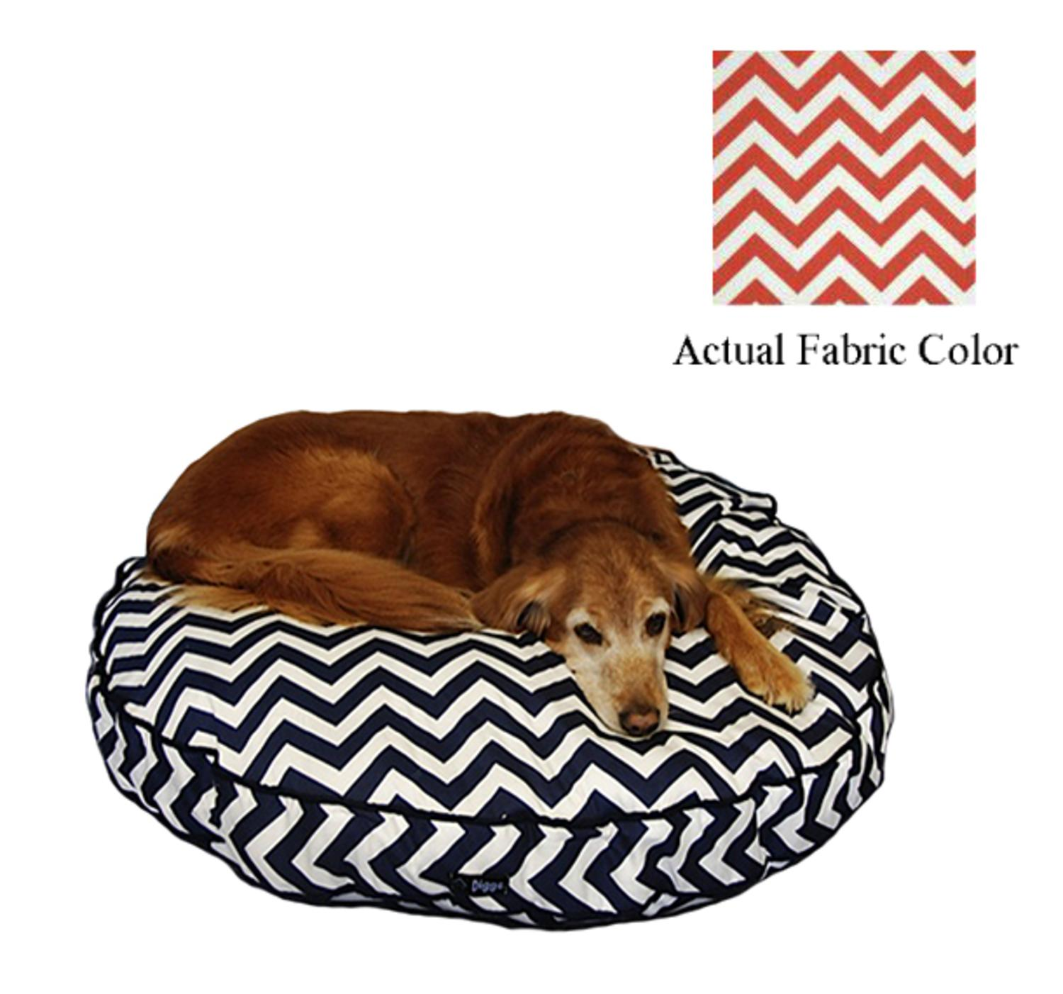 Coral and White Chevron Printed Deluxe Round Pet Dog Bed - Large