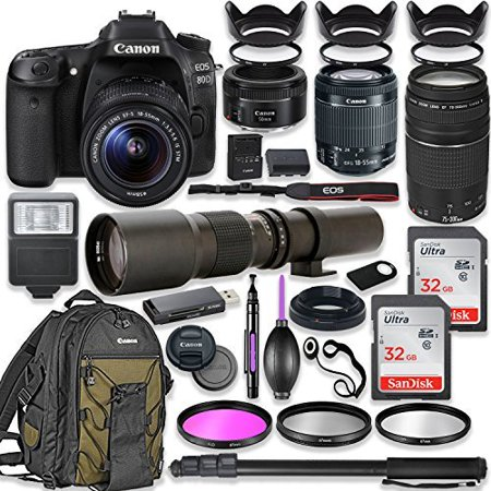 Canon EOS 80D DSLR Camera with 18-55mm Lens Bundle + Canon EF 75-300mm III Lens, Canon 50mm f/1.8 and 500mm Preset Lens + Canon Water Resistant Backpack + 64GB Memory + Monopod + Professional Bundle (Camara De Video Nueva)