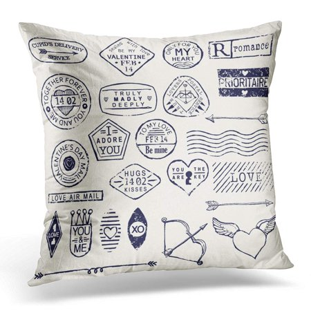 ECCOT Love Romantic Postage Stamp with Valentines Day Words and Titles Everything for Your Letter Wedding Pillowcase Pillow Cover Cushion Case 20x20 inch - Monogram Wedding Postage