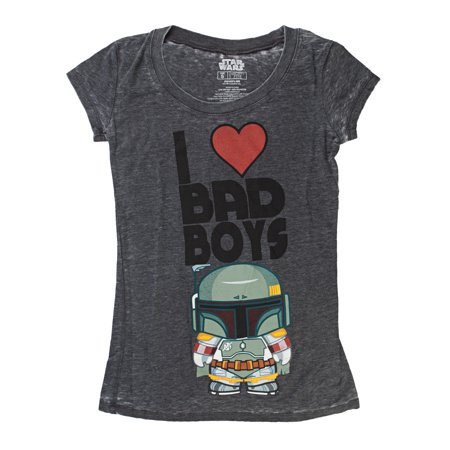 Star Wars Kawaii Boba Fett I Heart Bad Boys Juniors Heather T-Shirt  