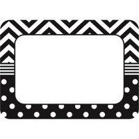 B&W Chevron And Dots Name Tags