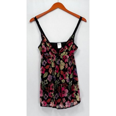 Angel Love Top L Signature Floral Print By-Pass Baby Doll Camisole Black A202096