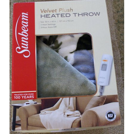 Sunbeam Electric Heated Throw Blanket Velvet Plush
