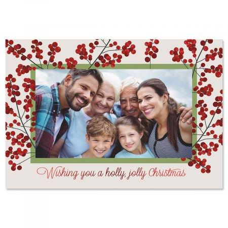 Holly Jolly Photo Sleeve Christmas Cards - Set of