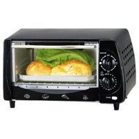 Brentwood Toaster Oven - 0.30 ft³ Capacity - Toast, Broil - Black, Stainless Steel