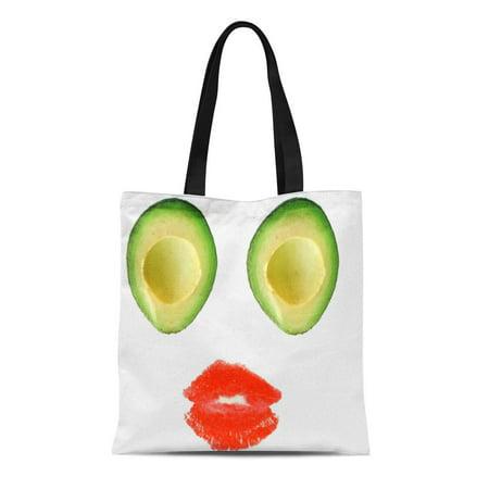 KDAGR Canvas Tote Bag Green Guacamole Adorable Avocado Visage for Rosa Cute Food Reusable Handbag Shoulder Grocery Shopping