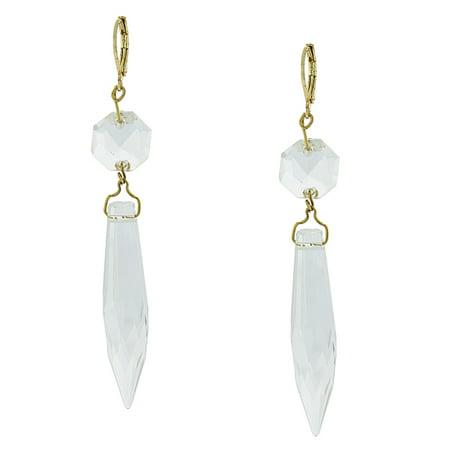 - Gold-Tone Clear Crystal Linear Drop Earrings