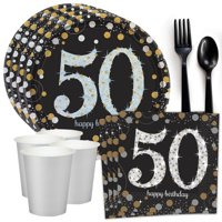 Sparkling Celebration 50th Birthday Standard Tableware Kit (Serves 8)
