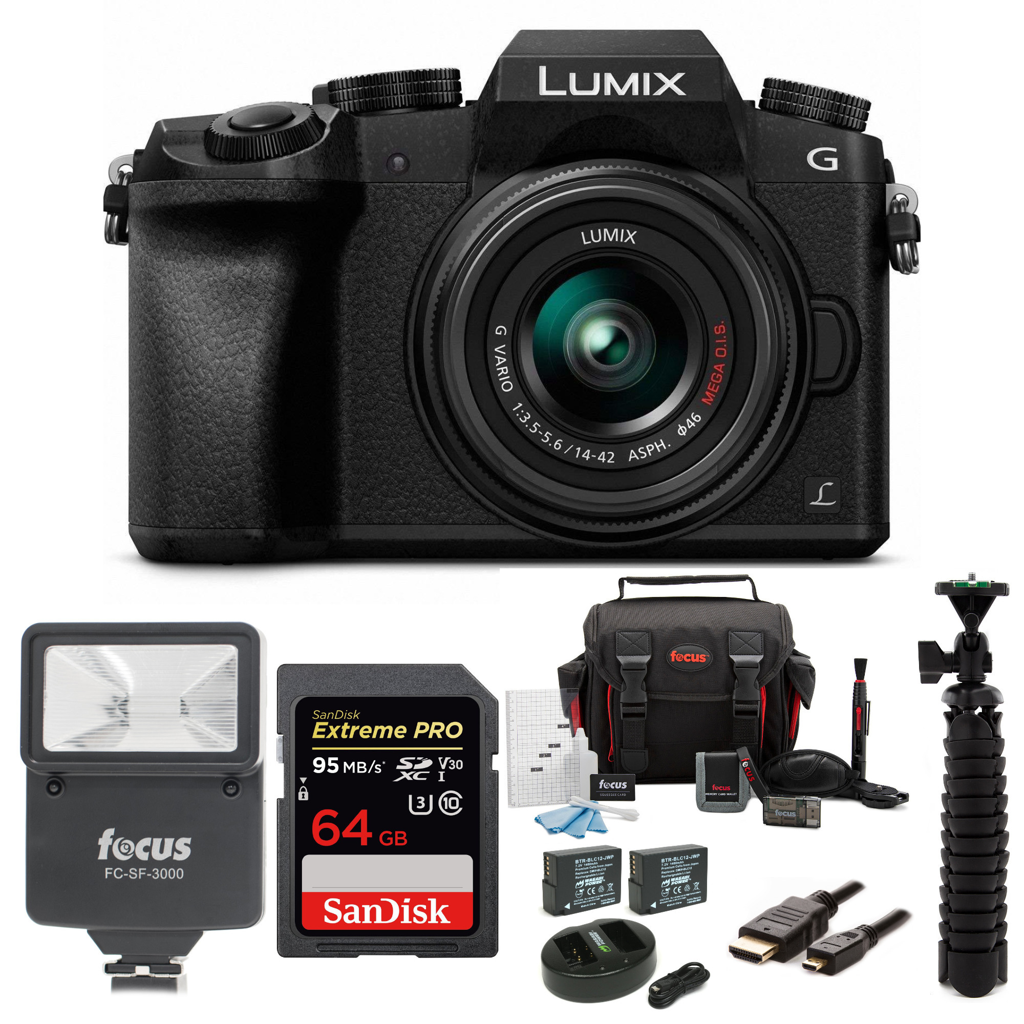 Panasonic LUMIX G7 Mirrorless Camera with 14-42mm Lens and 64 SD Card Bundle