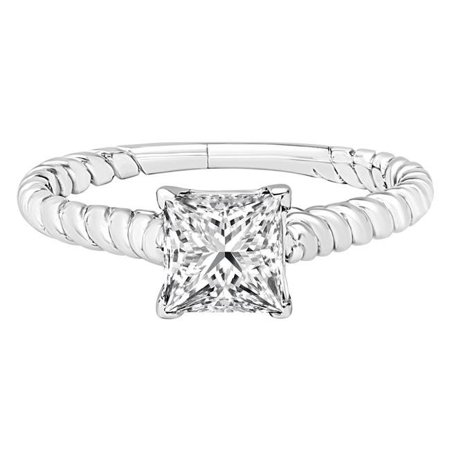 Majesty Diamonds MD190549-P 1 CT Princess Diamond Twisted Band Solitaire Engagement Ring in 14K White Gold - image 1 of 1
