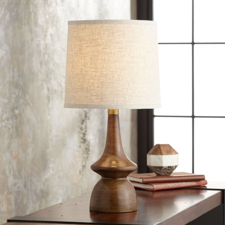 360 Lighting Mid Century Modern Table Lamp Brown Walnut Wood Off White Linen Shade for Living Room Family Bedroom Bedside (Walnut Wood Table Lamp)