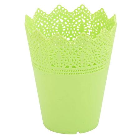 Household Plastic Hollow Design Flower Pot Plants Succulent Vase Container Green for Christmas ()