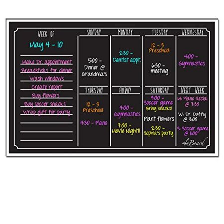 Ala Board 30012 Dry Erase Magnetic Weekly Calendar, Black - Black Dry Erase Calendar