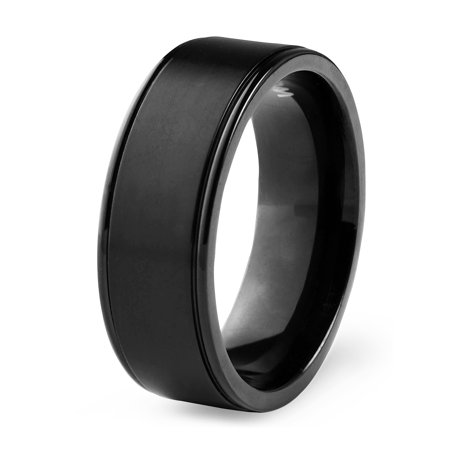 Black Titanium Segment Rings - Men's Black Plated Titanium Brushed Finish Ring