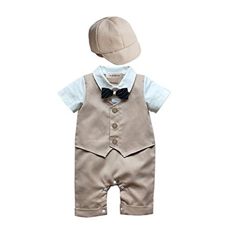 Cowgirl Formal Wear (StylesILove Baby Boy Formal Wear Romper and Hat 2-piece (18-24 Months,)
