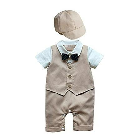 Infant Boy Formal Wear - StylesILove Baby Boy Formal Wear Romper and Hat 2-piece (18-24 Months, Khaki)
