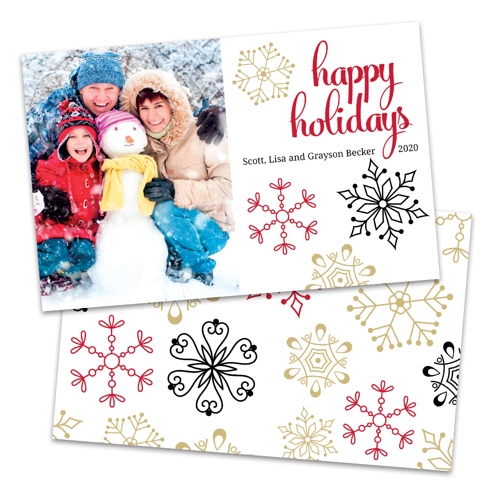 Personalized Simple Snowflake Holiday Card