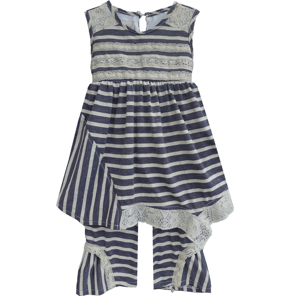 Isobella & Chloe Little Girls Navy Lace Tori Two Piece Pant Outfit Set 2T-4T