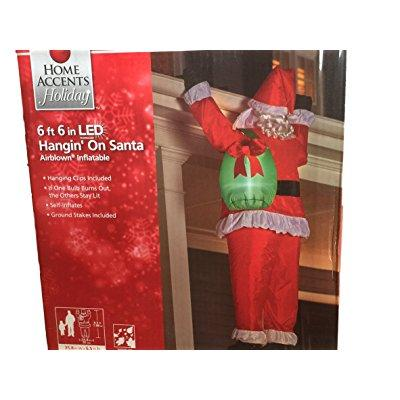 Gemmy 35.83 in. W x 30.71 in. D x 77.95 in. H Realistic Inflatable-Santa Hanging From Roof with Gift Sack