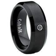 Black Cobalt Ring Men's Wedding Band with 0.04 Real Black Diamond 8MM
