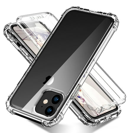 "iPhone 11 6.1"" Case with Built in Screen Protector, Allytech Full Body Shockproof Dual Layer High Impact Protective Anti-Scratch Soft TPU Cover Cases for iPhone 11 6.1 inch 2019, Clear"