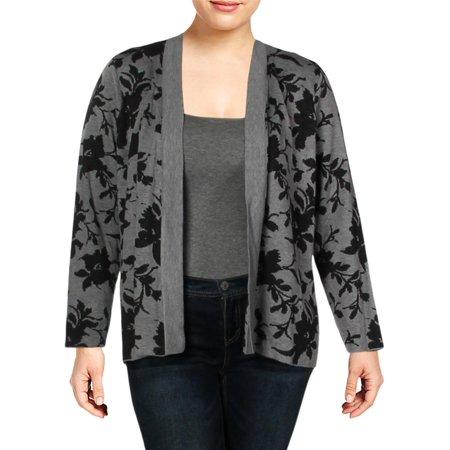 Belldini Womens Plus Jacquard Knit Floral Print Cardigan Sweater Gray 3X