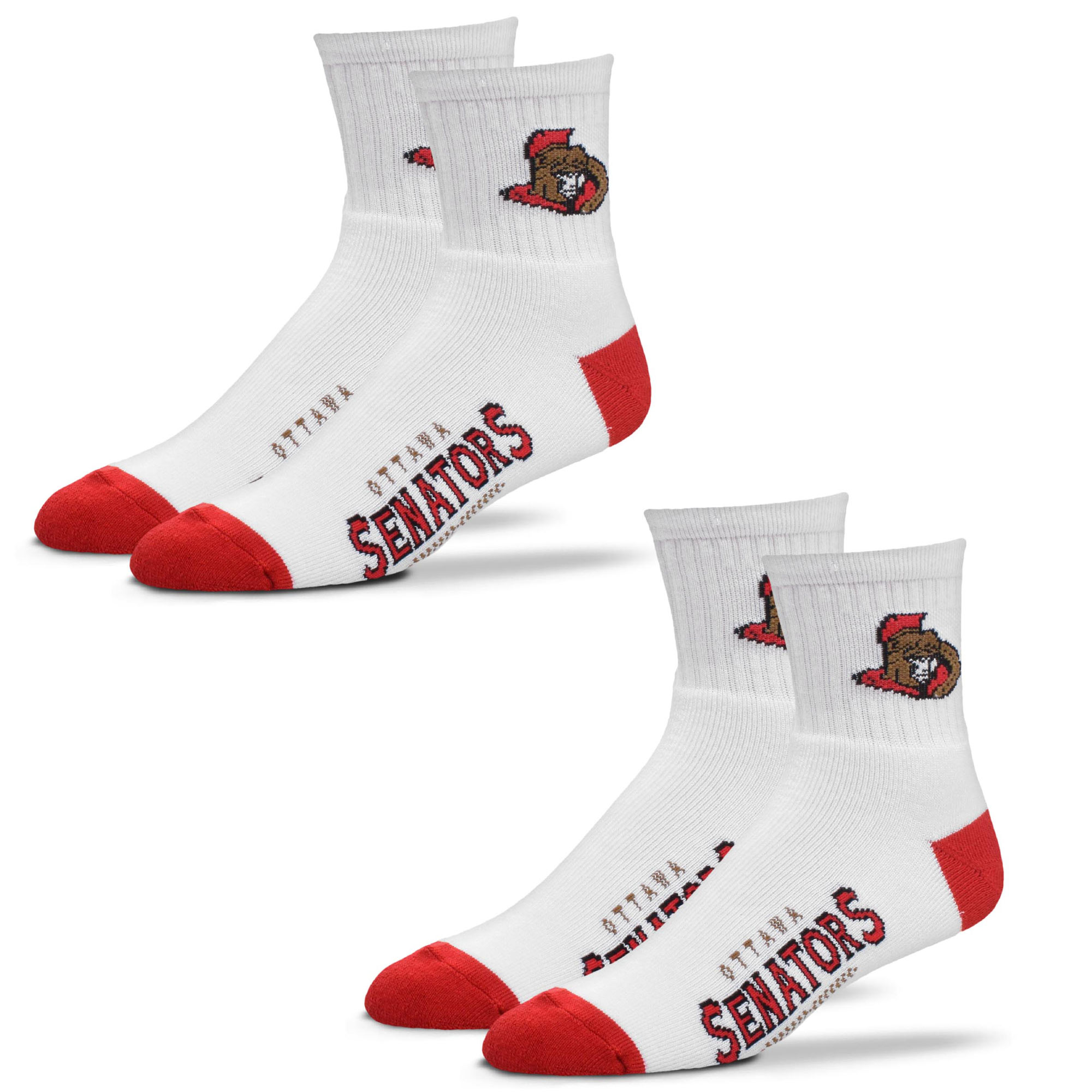 Ottawa Senators For Bare Feet Women's 2-Pack Quarter-Length Socks - M