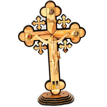 Layered olive wood Cross carved by Laser with Holy Land samples - standing or hanging ( 14 inches or 35 cm ) Large / Certificate
