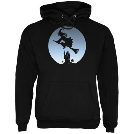 Halloween Witch Riding Broomstick Full Moon Mens Hoodie - Last Full Moon On Halloween