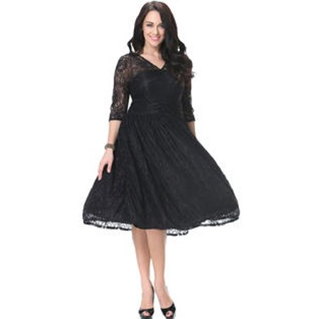 6b5dbbb1d048 Unomatch Women Sheer Lace Sleeves V-neck Skater Plus Size Lace Dress Black