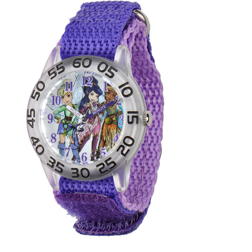 Disney Tinker Bell Girls' Plastic Case Watch, Purple Nylon Strap