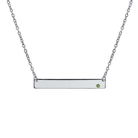 Engravable Sideway Flat Bar Name Plate Pendant Necklace For Teen Women 925 Sterling Silver 12 Birth Month Crystal Colors