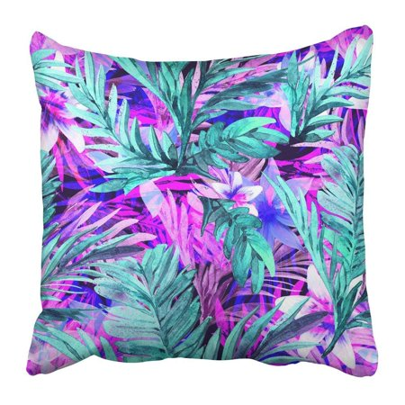ARTJIA Black Jungle Tropical Neon Floral Palm Leaf Overlay in Turquoise and Fuchsiaseamless Pattern Blue Pillowcase Pillow Cushion Cover 18x18 (Overlay Leaf)