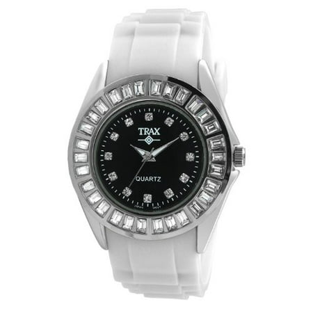 TR3925-BW Women's Rox White Rubber Black Dial Crystal Bezel Watch ()