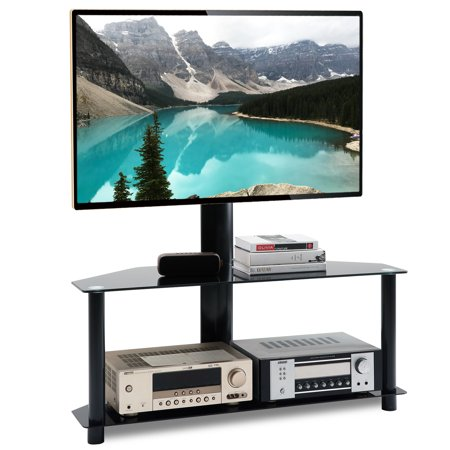 5Rcom Swivel Floor TV Stand with Height Adjustable Mount Bracket for 32 37 42 47 50 55 60 65 inch Plasma LCD LED Flat or Curved Screen TVs,2-Tier Tempered Glass Shelves for Media,110 Lbs,Black TW1005A 47 Chest 37 Sleeve