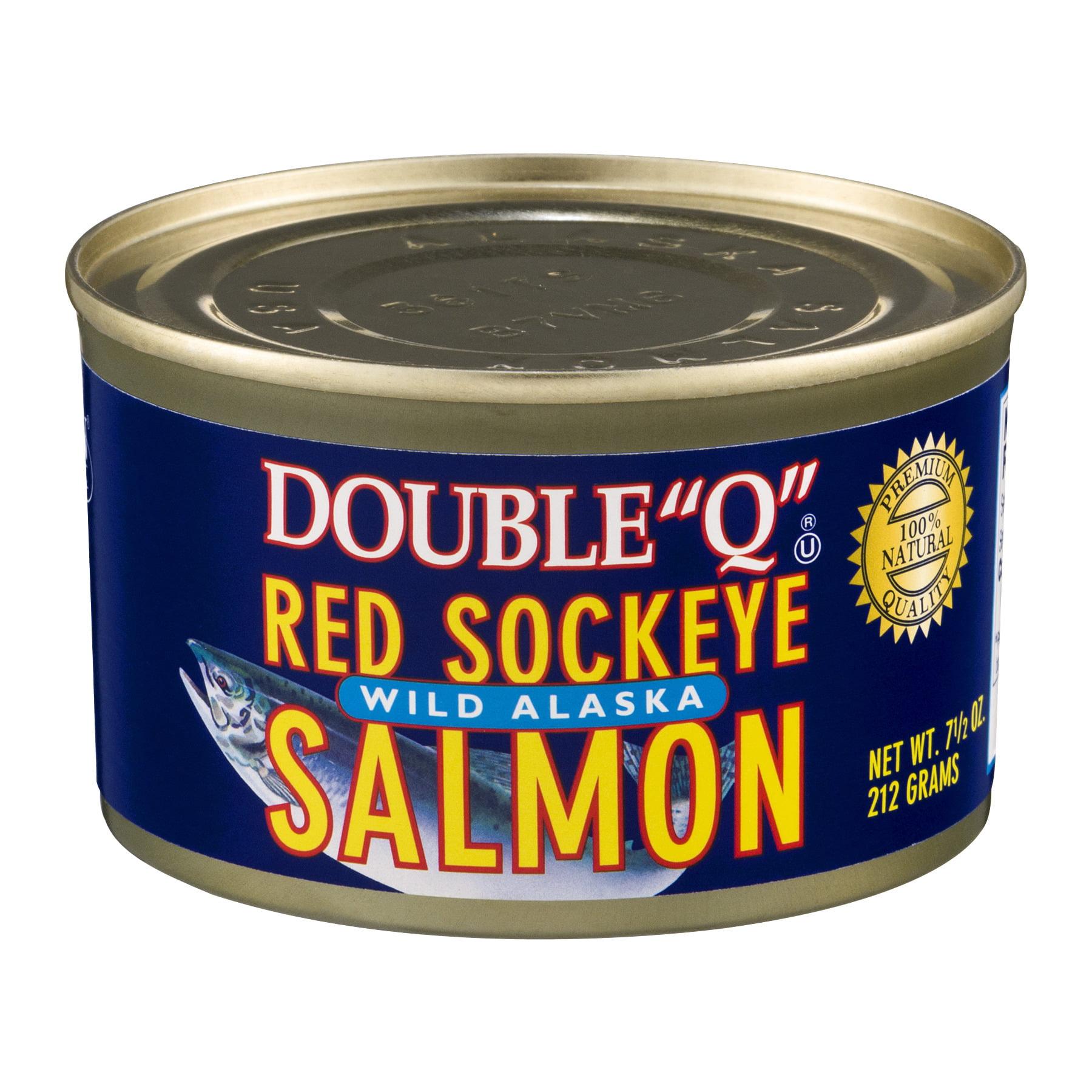 "(2 Pack) Double ""Q"" Wild Alaskan Red Sockeye Salmon, 7.5 oz Can"