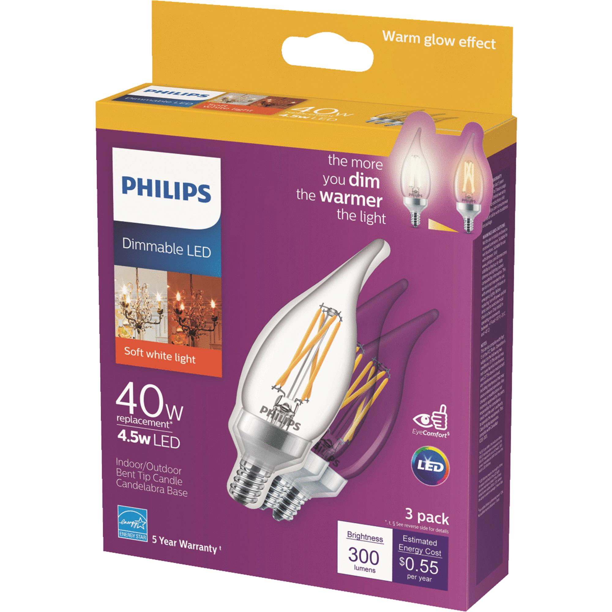 Philips Warm Glow BA11 Candelabra Dimmable LED Decorative Light Bulb