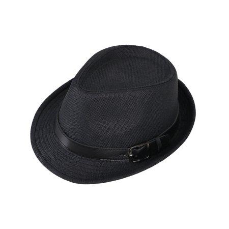 Adult UV Sun Protective Panama Style Straw Fedora Hat,Black Hat Black Belt,59cm