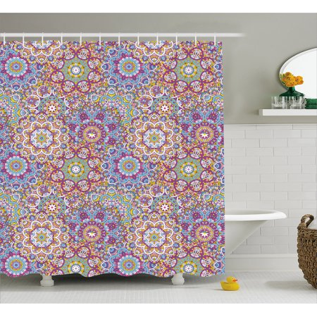 Lotus Shower Curtain Mandala Pattern With Mixed Floral Folk Circles Colorful Oriental Florets Artsy Design
