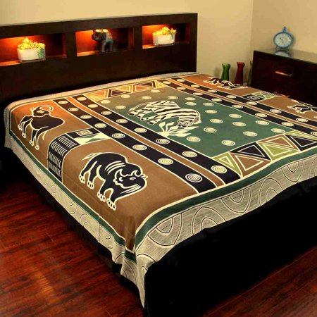 - Handmade Cotton African Animal Print 100% Cotton Tapestry Tablecloth Bedspread Beach Sheet Dorm Decor Olive Green Gold Full 88x106
